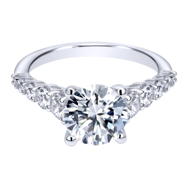 14k White Gold Round Straight Diamond Engagement Ring Image 2 The Ring Austin Round Rock, TX