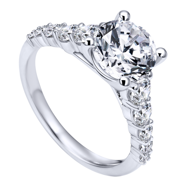 14k White Gold Round Straight Diamond Engagement Ring The Ring Austin Round Rock, TX
