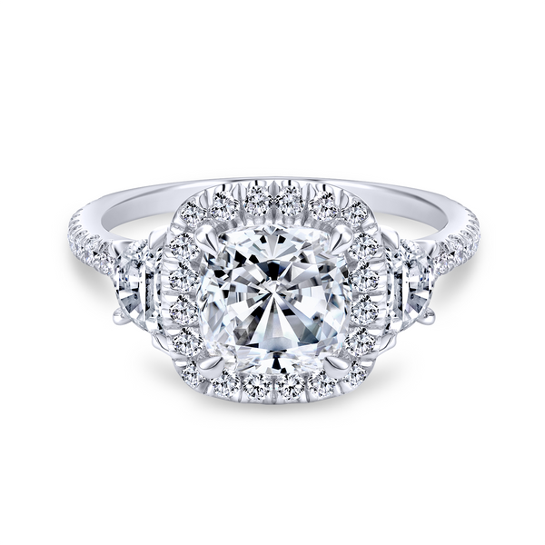 3 stone engagement ring style with a scalloped 14k white gold and diamond band Image 2 The Ring Austin Round Rock, TX