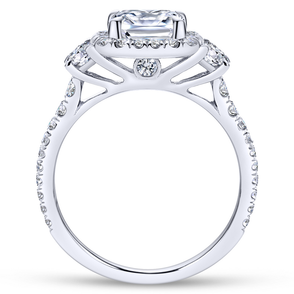 3 stone engagement ring style with a scalloped 14k white gold and diamond band Image 3 The Ring Austin Round Rock, TX
