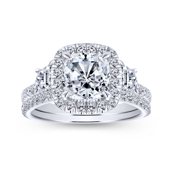 3 stone engagement ring style with a scalloped 14k white gold and diamond band Image 4 The Ring Austin Round Rock, TX