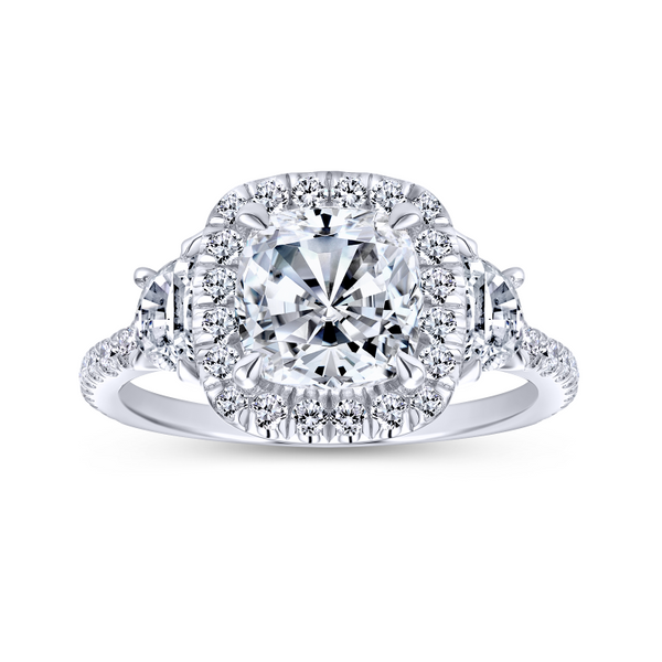 3 stone engagement ring style with a scalloped 14k white gold and diamond band Image 5 The Ring Austin Round Rock, TX
