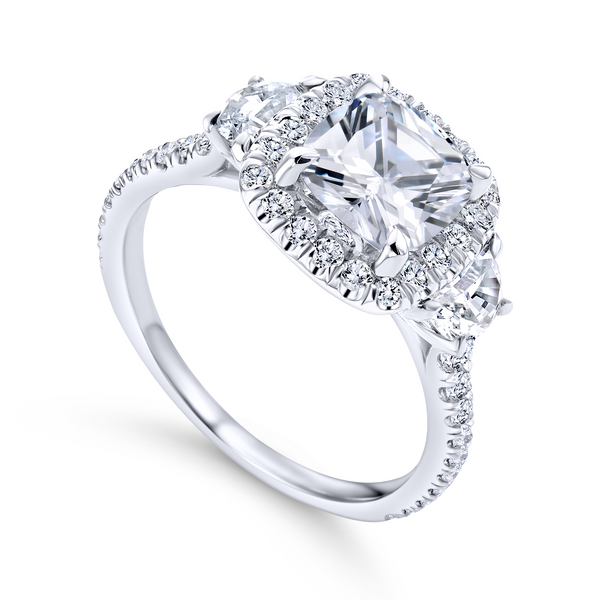 3 stone engagement ring style with a scalloped 14k white gold and diamond band The Ring Austin Round Rock, TX
