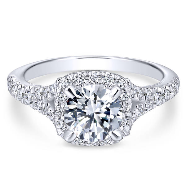 Split shank adds interest to this classic engagement ring w/ pave diamonds Image 2 The Ring Austin Round Rock, TX