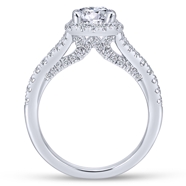 Split shank adds interest to this classic engagement ring w/ pave diamonds Image 3 The Ring Austin Round Rock, TX