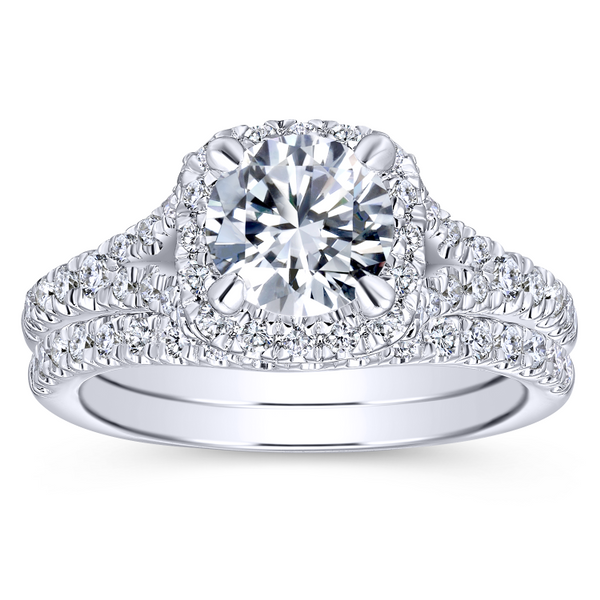 Split shank adds interest to this classic engagement ring w/ pave diamonds Image 4 The Ring Austin Round Rock, TX