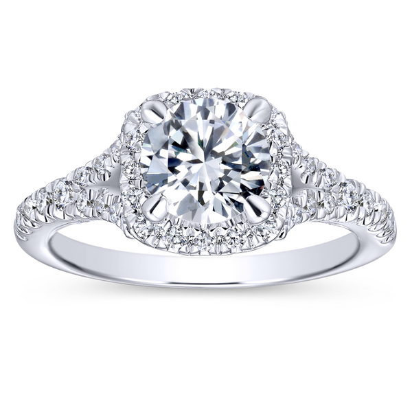 Split shank adds interest to this classic engagement ring w/ pave diamonds Image 5 The Ring Austin Round Rock, TX