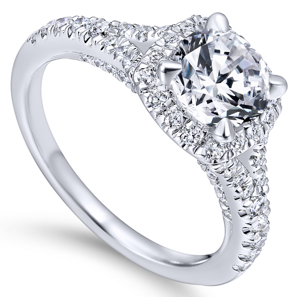 Split shank adds interest to this classic engagement ring w/ pave diamonds The Ring Austin Round Rock, TX