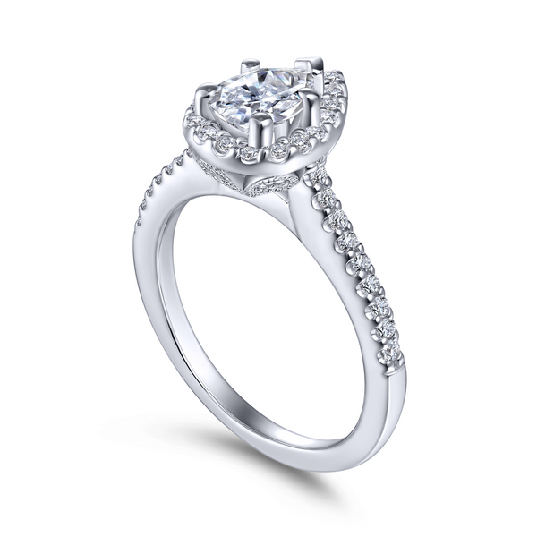 Beautiful Wedding Rings.Pear Shaped Engagement Ring Features Beautiful Pave Diamonds In The Halo And On The Band