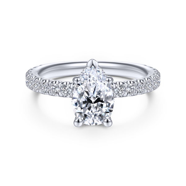 14k White Gold Pear Shape Straight Diamond Engagement Ring Image 2 The Ring Austin Round Rock, TX
