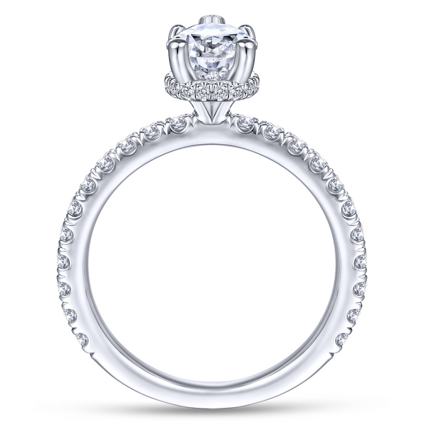 14k White Gold Pear Shape Straight Diamond Engagement Ring Image 3 The Ring Austin Round Rock, TX