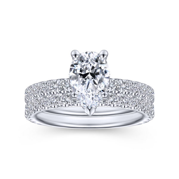 14k White Gold Pear Shape Straight Diamond Engagement Ring Image 4 The Ring Austin Round Rock, TX