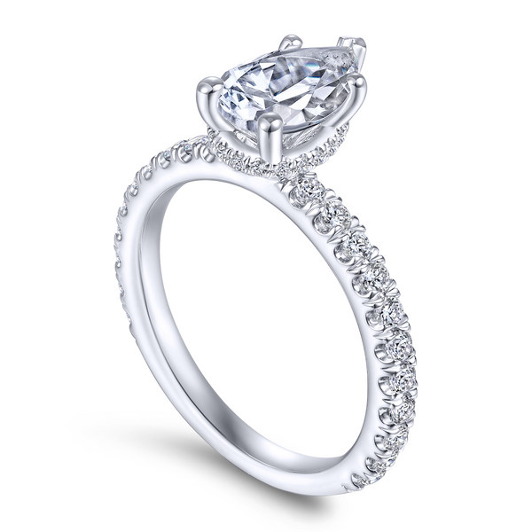 14k White Gold Pear Shape Straight Diamond Engagement Ring The Ring Austin Round Rock, TX