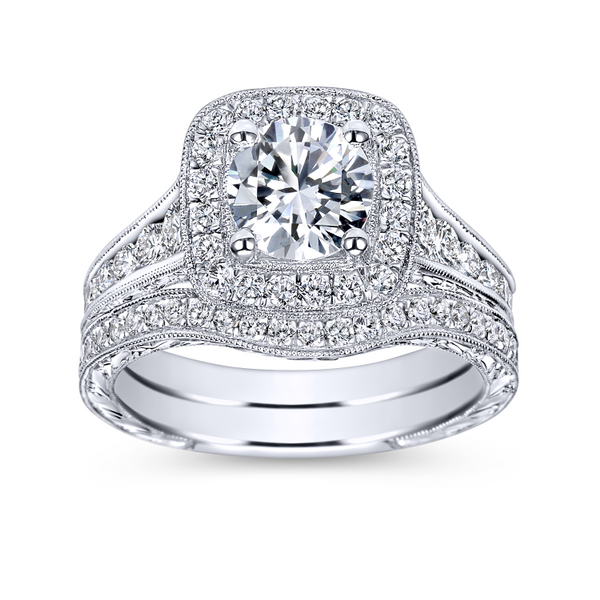 Vintage 14k White Gold Round Halo Diamond Engagement Ring Image 4 The Ring Austin Round Rock, TX