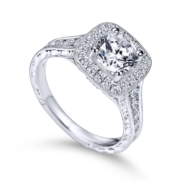 Vintage 14k White Gold Round Halo Diamond Engagement Ring The Ring Austin Round Rock, TX