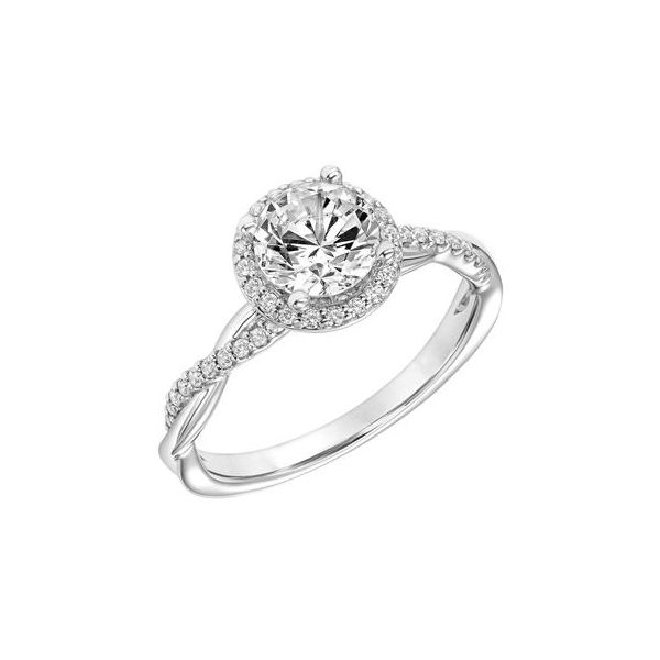 14kt WG Twisted Halo Diamond Engagement Ring  The Ring Austin Round Rock, TX