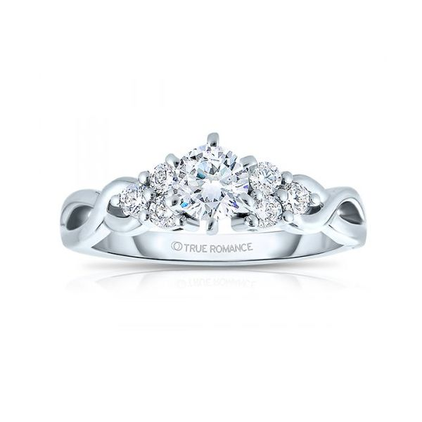14k WG Twist Side Stone Diamond Engagement Ring The Ring Austin Round Rock, TX