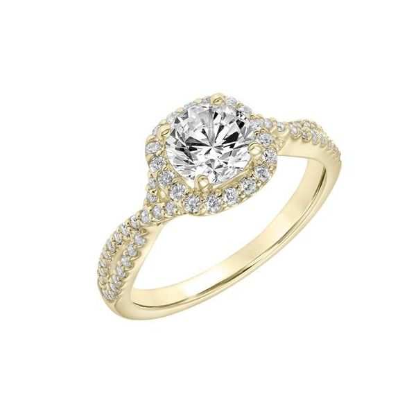 14k YG Cushion Halo Twisted Diamond Engagement Ring The Ring Austin Round Rock, TX