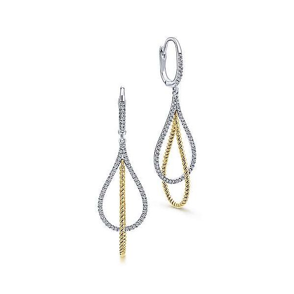 14kt WG/YG Rope and Diamond Dangle Earrings 3/8ctw faint SI2 The Ring Austin Round Rock, TX