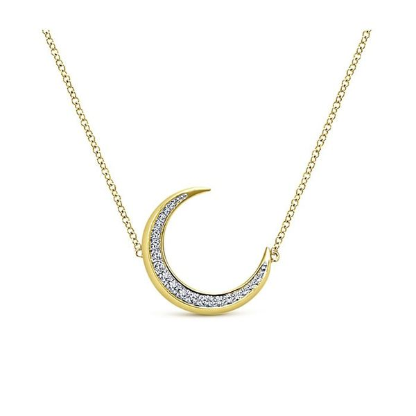 14kt YG Stationary Moon with Diamonds Necklace 1/5ctw 16