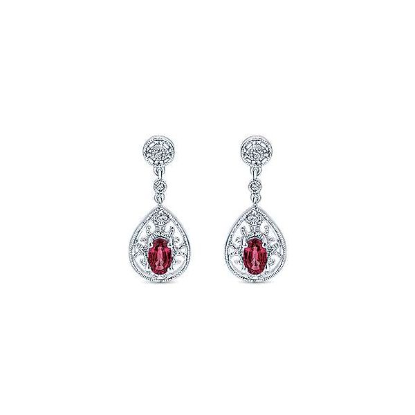 14kt WG Ruby and Diamond Drop Earrings Image 2 The Ring Austin Round Rock, TX