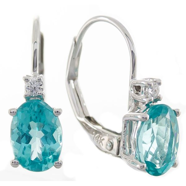 10k WG Aquamarine Earrings w/ diamonds The Ring Austin Round Rock, TX