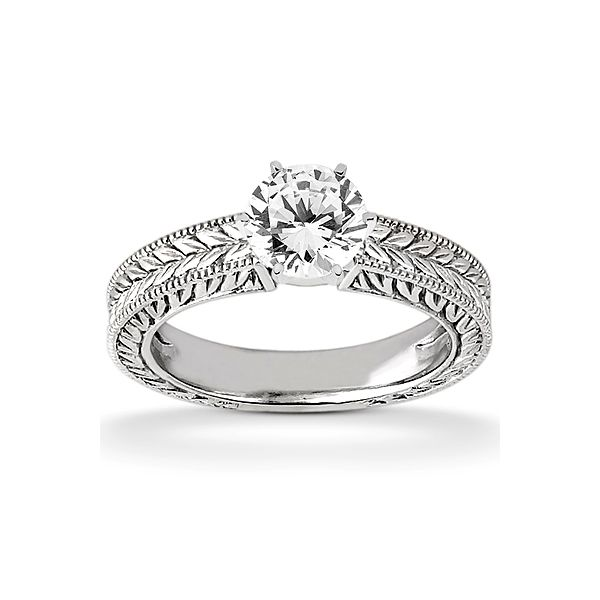 Leaf Pattern Shank Solitaire Engagement Ring The Ring Austin Round Rock, TX