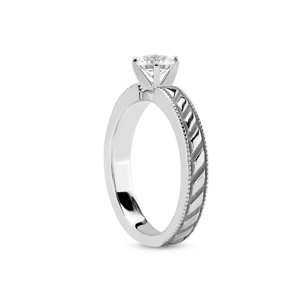 Solitaire with Diagonal Line Design and Milgrain Edges Image 2 The Ring Austin Round Rock, TX