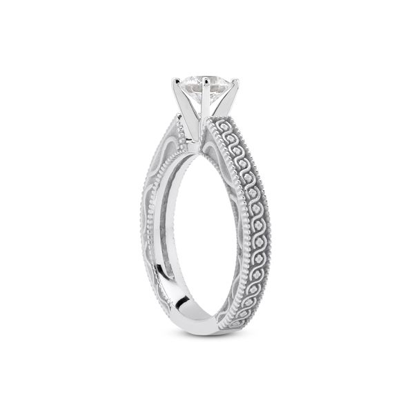 White Gold Solitaire with Pattern Shank Image 2 The Ring Austin Round Rock, TX