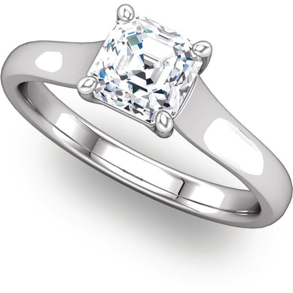 3924a1f8dc277 Square Stone Lattice Crown Solitaire Engagement Ring