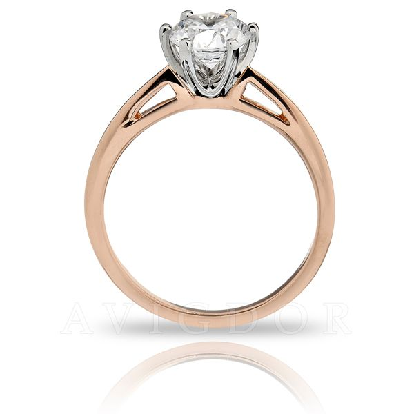14k Rg/WG Six Prong Crown Solitaire Engagement Ring Image 3 The Ring Austin Round Rock, TX