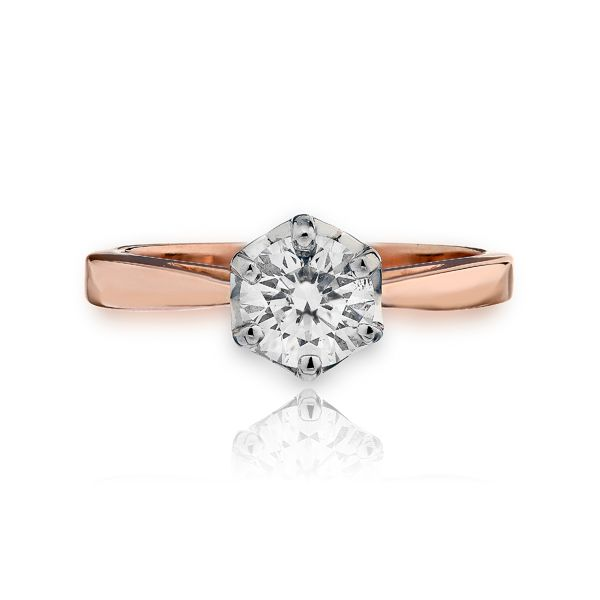 14k RG Open Shank Fancy Crown Solitaire Engagement Ring The Ring Austin Round Rock, TX
