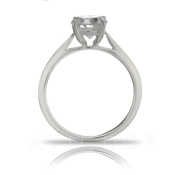 White Gold Thin Cathedral Style Solitaire Ring Image 3 The Ring Austin Round Rock, TX
