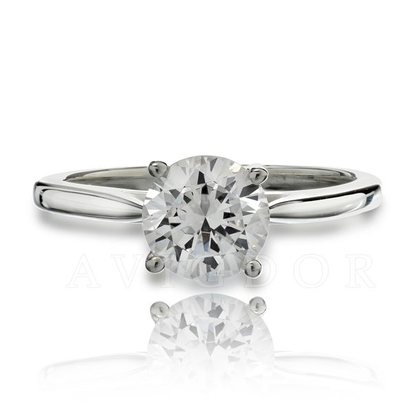White Gold Thin Cathedral Style Solitaire Ring The Ring Austin Round Rock, TX