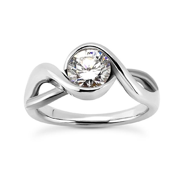 White and Rose Gold Half Bezel Twist Solitaire The Ring Austin Round Rock, TX