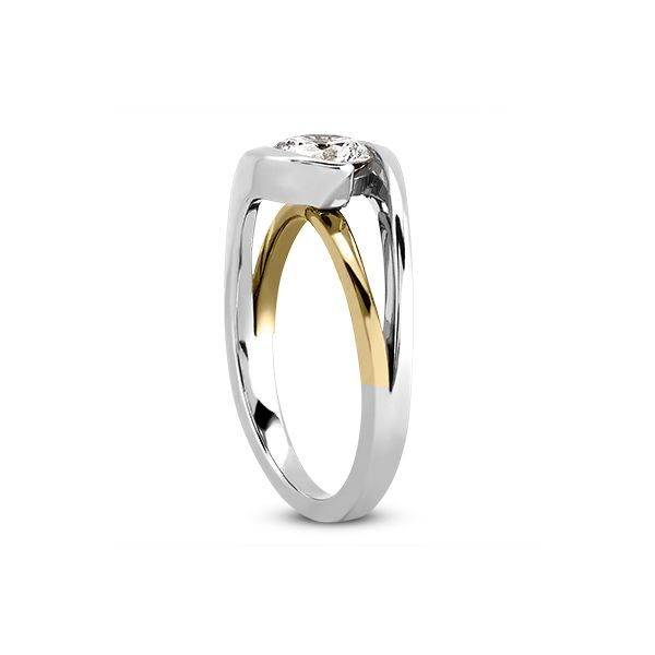 White and Rose Gold Half Bezel Split Shank Solitaire Image 2 The Ring Austin Round Rock, TX