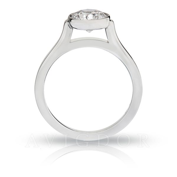 White Gold Round Bezel Set Solitaire Image 3 The Ring Austin Round Rock, TX