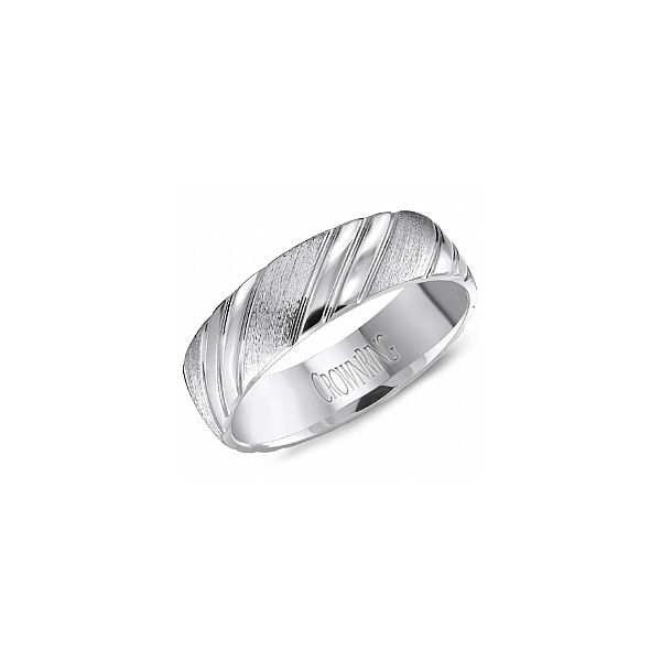 White gold 6mm Band with Carved Detail The Ring Austin Round Rock, TX