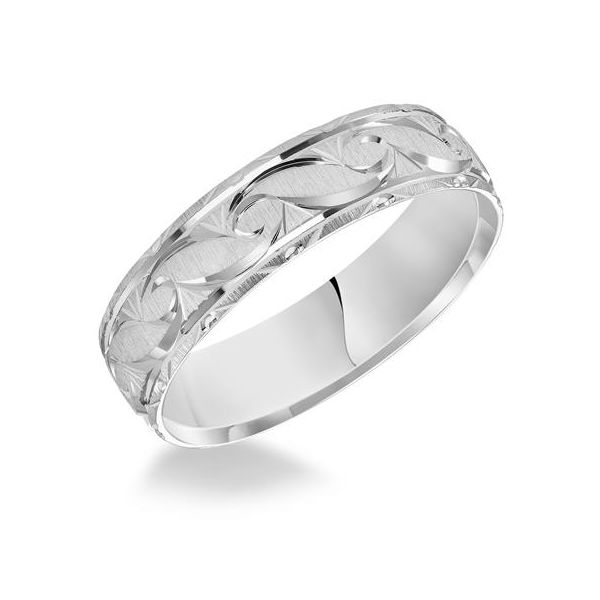 14k White Gold Engraved Wedding Band The Ring Austin Round Rock, TX
