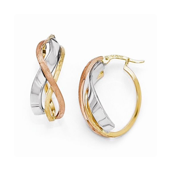 14K Tri Tone Twist Oval Hoop Earrings The Ring Austin Round Rock, TX