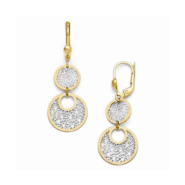 14K YG w/White Rhodium Circle Drop Leverback Earrings The Ring Austin Round Rock, TX