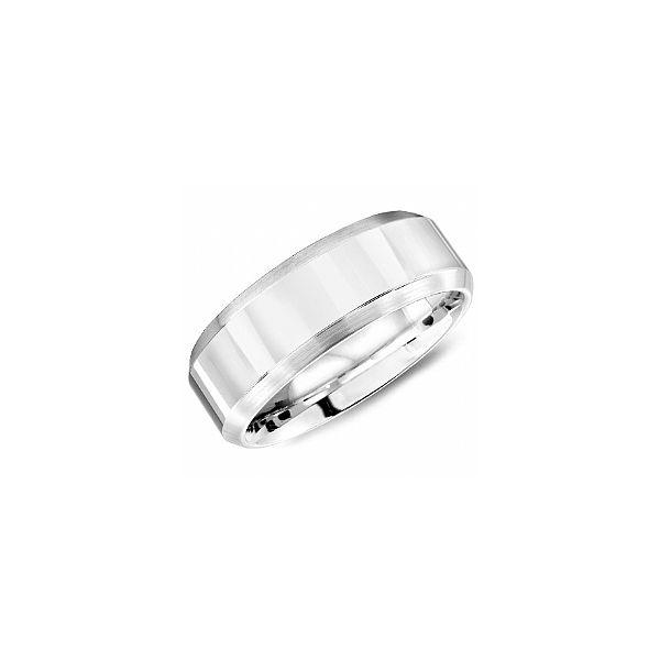 Jewel Tie Titanium Beveled Edge 6mm Stone and Polished Wedding Band