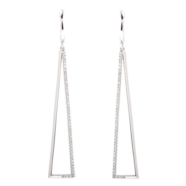 Diamond Negative Space Triangular Long Drop Earrings The Ring Austin Round Rock, TX