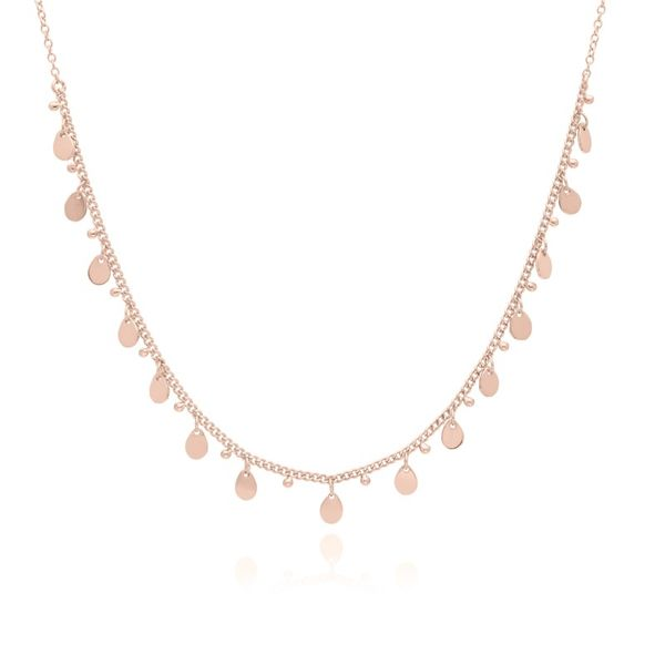 Rose Gold Plated Silver Teardrop Charm Necklace 12-14