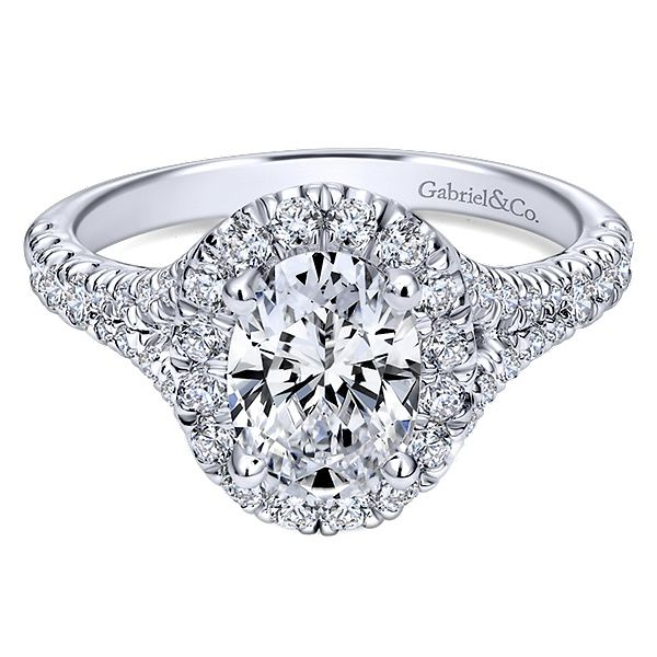 Gabriel & Co. 14K White Gold Oval Diamond Halo Engagement Ring Van Adams Jewelers Snellville, GA