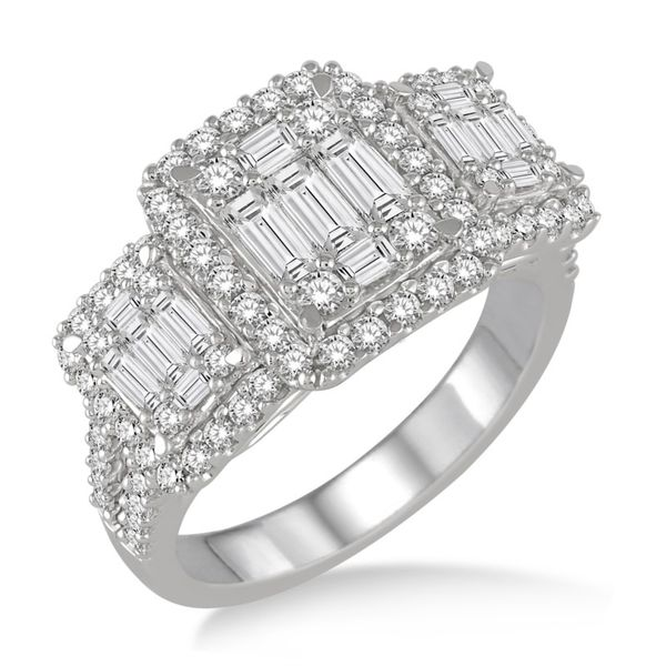 Three Stone Baguette and Round Diamond Ring Van Adams Jewelers Snellville, GA