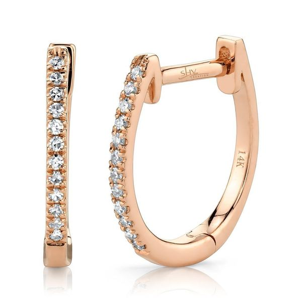 Shy Creation 14K Rose Gold Diamond Huggie Earrings Van Adams Jewelers Snellville, GA