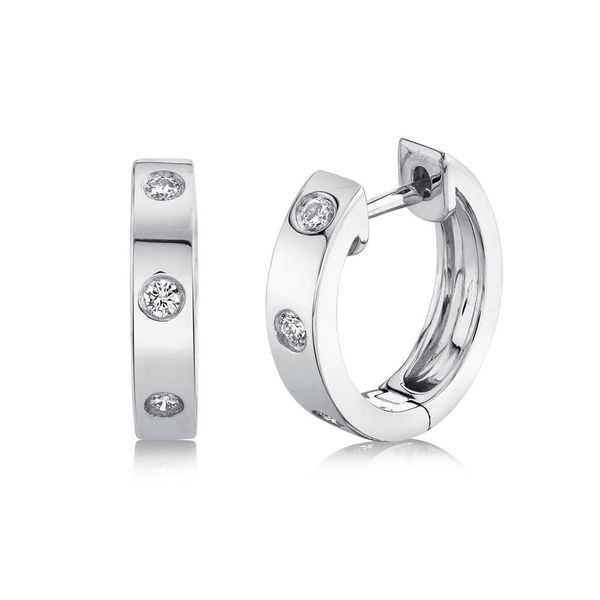 Shy Creation 14K White Gold Diamond Huggie Earrings Van Adams Jewelers Snellville, GA