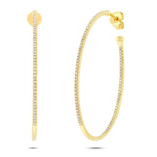 Shy Creation 14K Yellow Gold Diamond Oval Hoop Earrings Van Adams Jewelers Snellville, GA