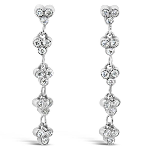 14K White Gold Station Diamond Earrings Van Adams Jewelers Snellville, GA
